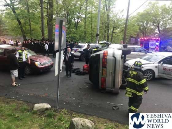 PHOTOS: Overturned Vehicle In Monsey on Wednesday Morning