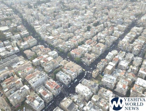 INITIAL PHOTOS: Hundreds Of Thousands Attend Levaya Of Maran HaRav Shteinman ZATZAL (Aerial Photos By Mair Lavi)