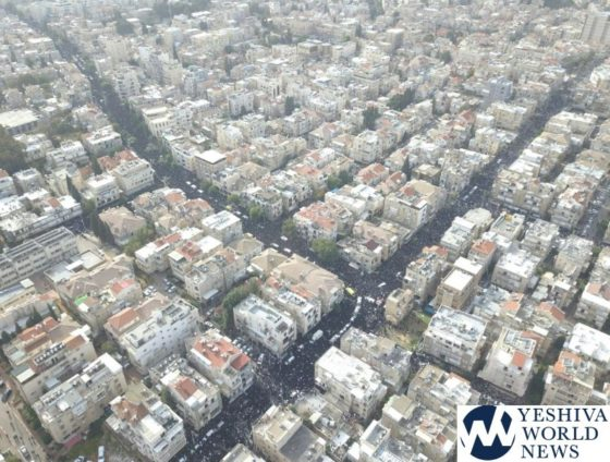 INITIAL PHOTOS: Hundreds Of Thousands Attend Levaya Of Maran HaRav Shteinman ZATZAL (Aerial Photos By Mair Lavi)